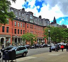 Boston's Newbury Street in Back Bay scene