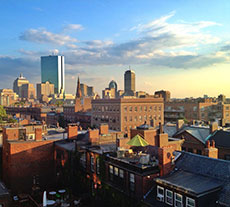 Boston's Back Bay skyline as seen from a Beacon Hill roof deck
