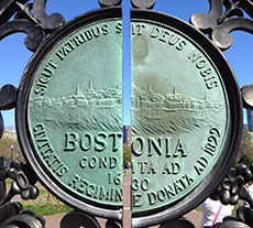 The City of Boston's seal as a feature of a Public Garden gate