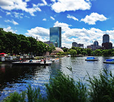 Boston's Back Bay skyline as seen from the Beacon Hill portion of The Esplanade