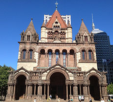 Trinity Church in the heart of Boston's Back Bay at Copley Square