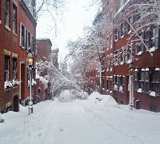 Boston's Beacon Hill along Myrtle Street after a blizzard