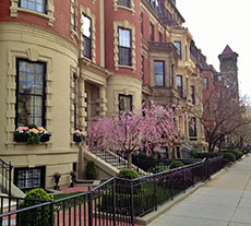 Boston's Back Bay townhouses along Commonwealth Avenue