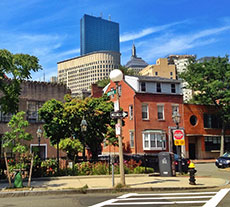 Boston's Back Bay skyline as seen from Bay Village