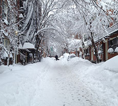 A wintery scene along Boston's Beacon Hill West Cedar Street