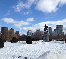 Statue of George Washington in Boston's Public Garden in winter