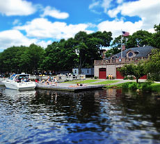 The Boston College Boathouse along the Charles River at The Esplanade, Beacon Hill, Boston, MA