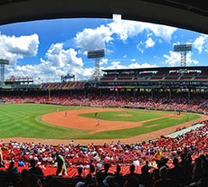 Boston's Fenway Park located in the Fenway/Kenmore neighborhood, home of the Boston Red Sox