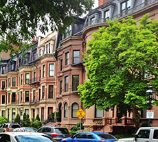 Rowhouses along Commonwealth Avenue in Boston's Back Bay
