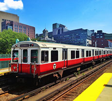 Boston MBTA Red Line Train at Beacon Hill's MGH/Charles Street Station