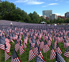 A flagged decorated Memorial Day weekend scene of Boston Common